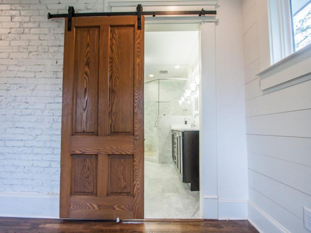 barn door in bathroom